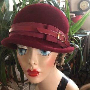 Vintage Cranberry Velour Wool Cloche Hat